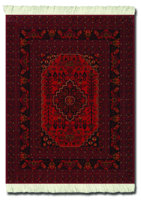 Antique-Red Afghan, Mouse Rug