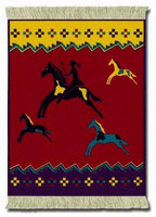 Celebrate the Horse - Red, Coaster Rug